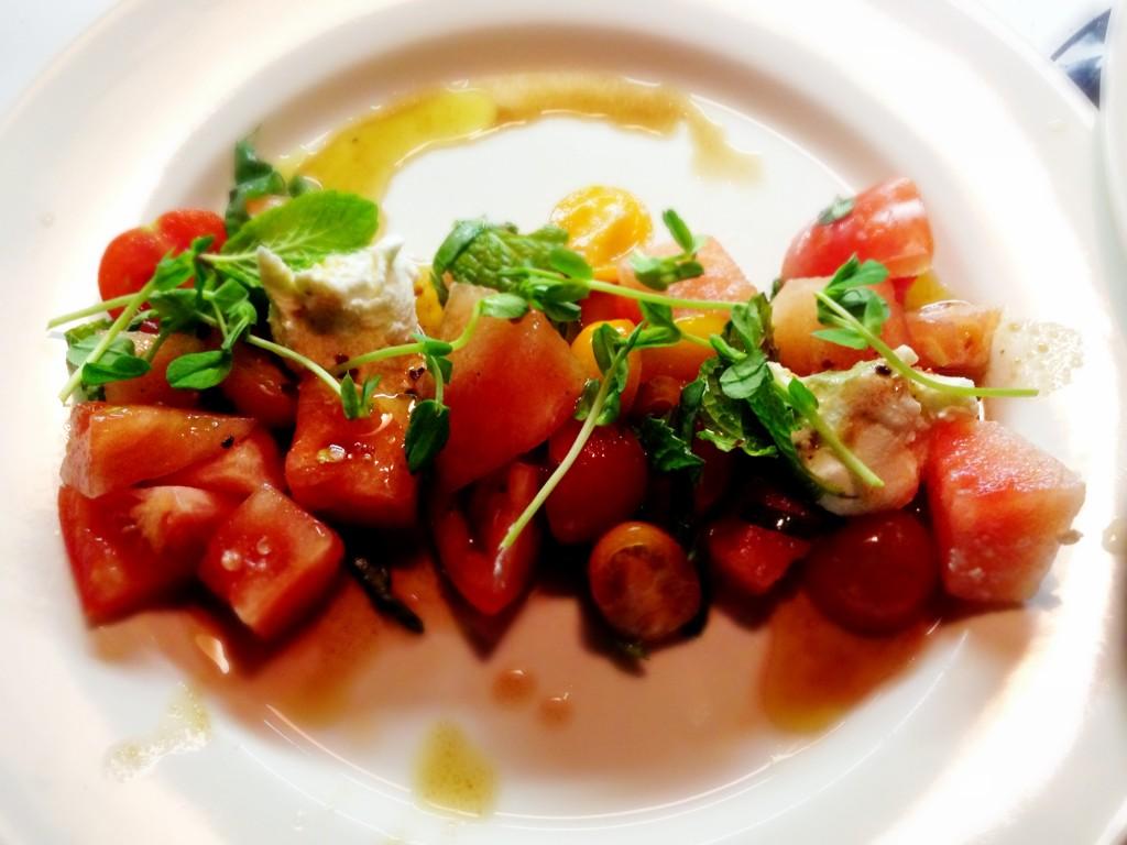 Watermelon, Tomato & Goat Cheese Salad, Sichuan Peppercorn Vinaigrette