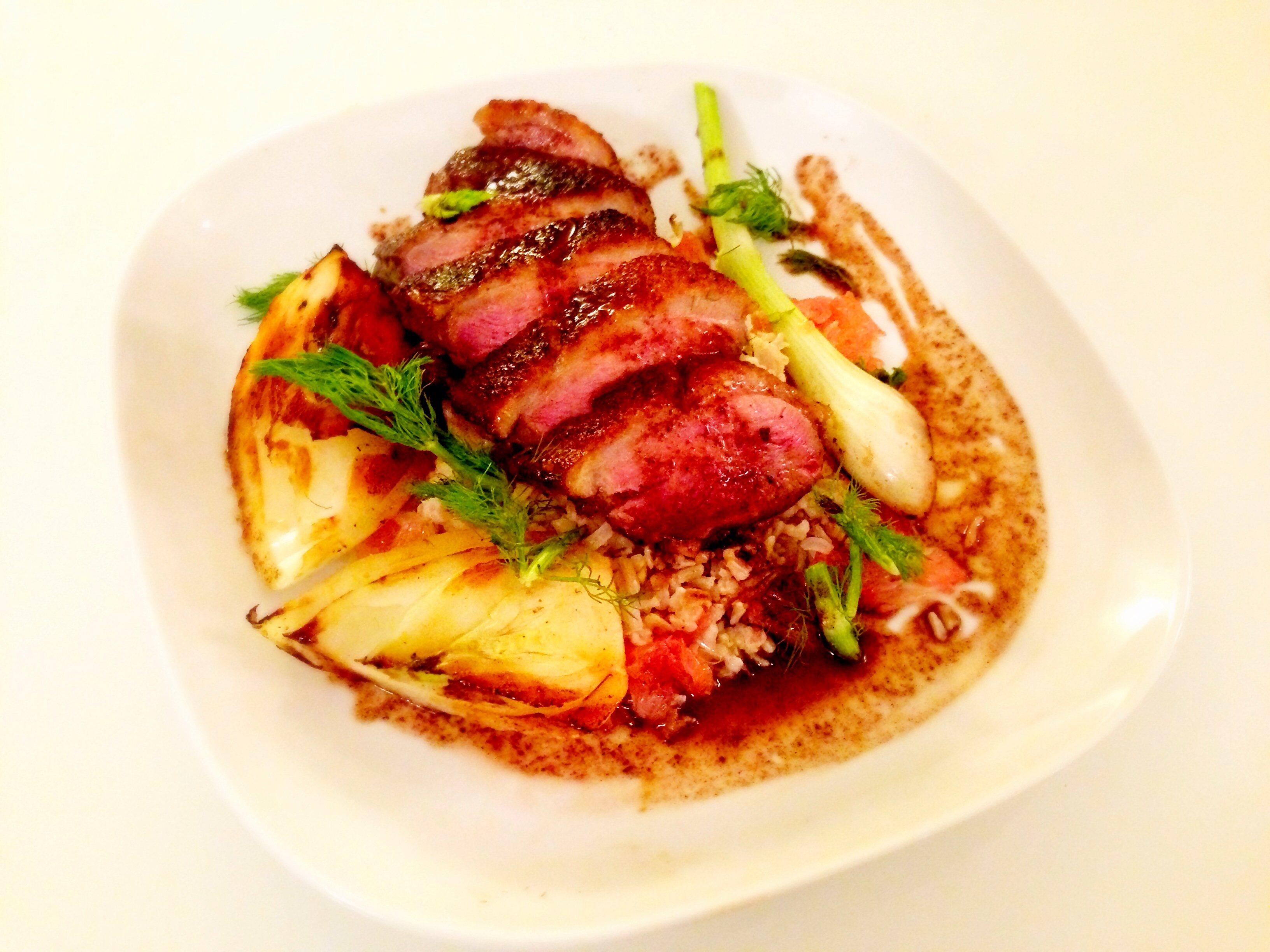 Seared Duck Breast, Grilled Fennel, Grapefruit Vinaigrette, Brown Rice Risotto