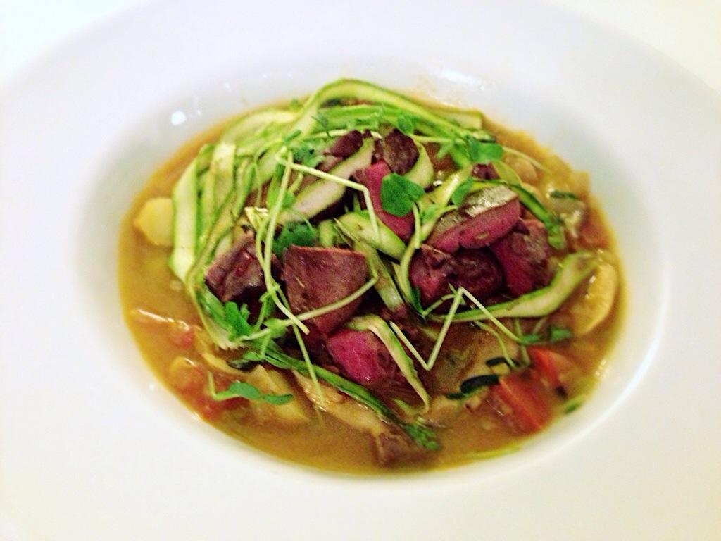 Grilled Lamb Heart, Potato Stew