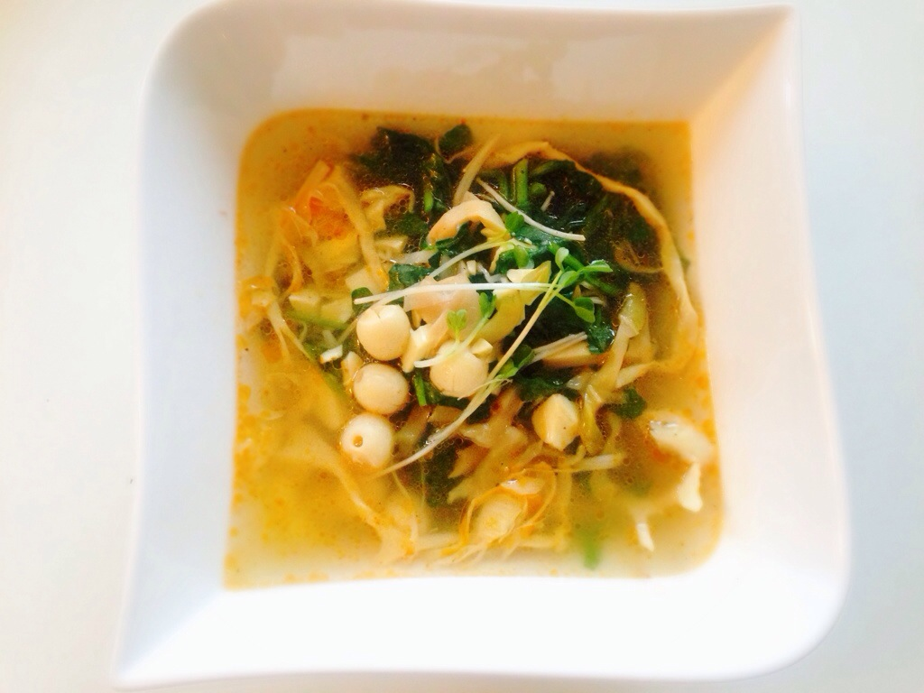 Warm Watercress And Lotus Seed Salad in a Broth