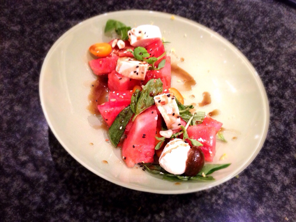 Watermelon Salad with Tomato & Goat Cheese