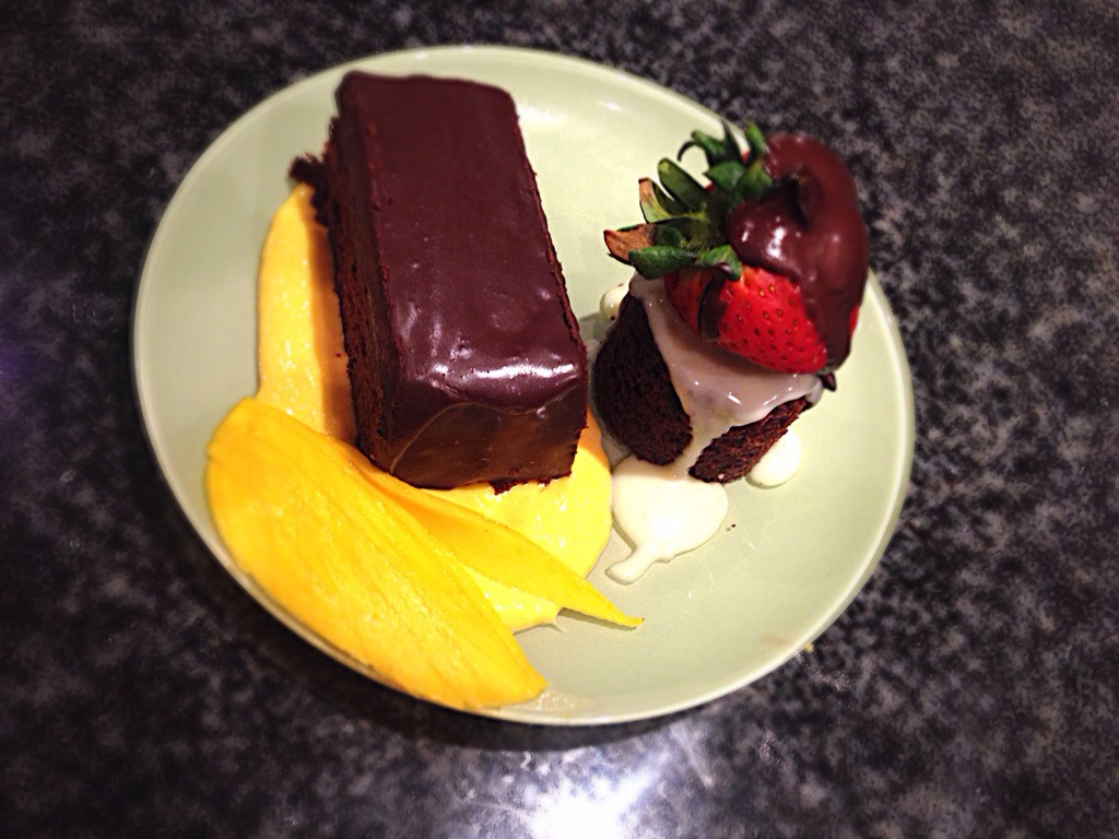 Chocolate Cake Duo, White Chocolate Sauce, Mango Mousse