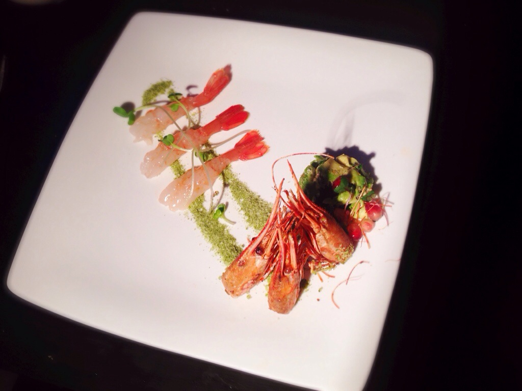 BC Spot prawns sashimi on wasabi sands, deep fried prawn heads, avocado crudo.