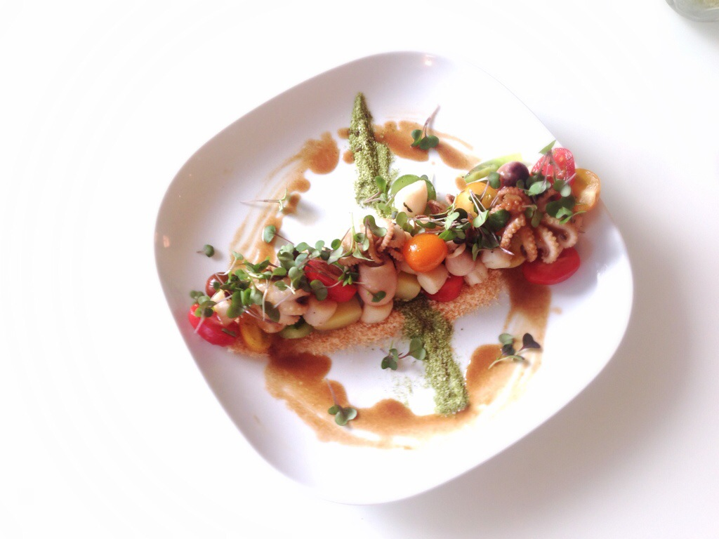 Baby Heirloom Tomatoes, Bay Scallops & Baby Octopus , Soy Beurre Blanc