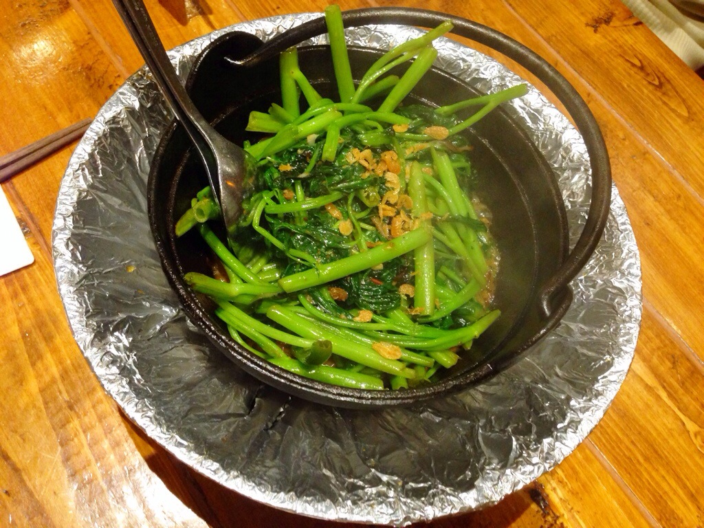 Clay Pot Sambal Kang Kong  (Stir fried water spinach with shallots, garlic and dried shrimp)