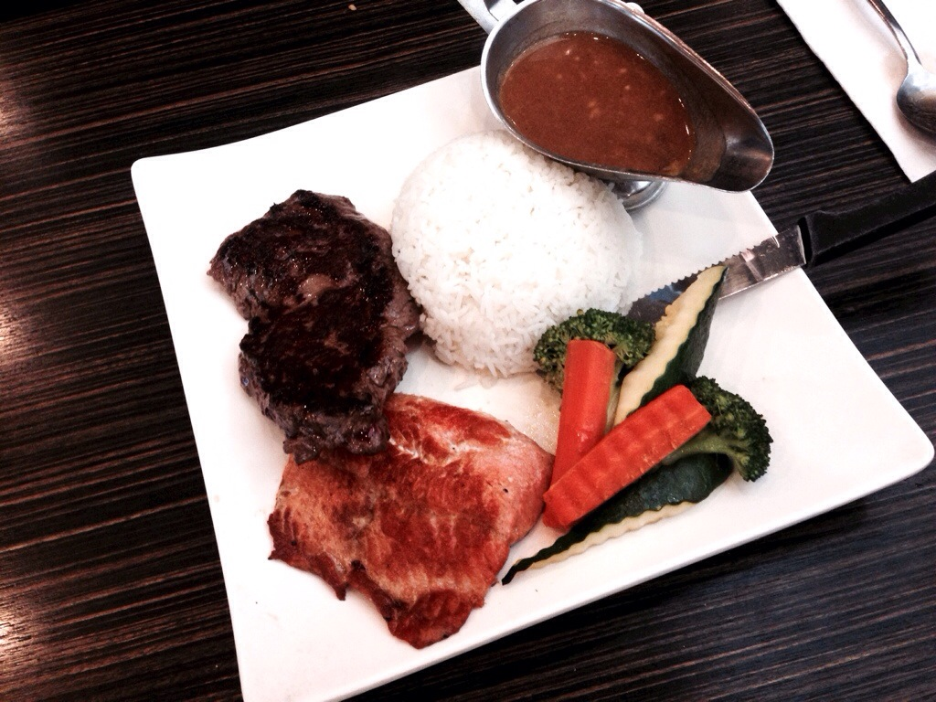 Grilled Salmon & Striploin @ Flo Tea Room