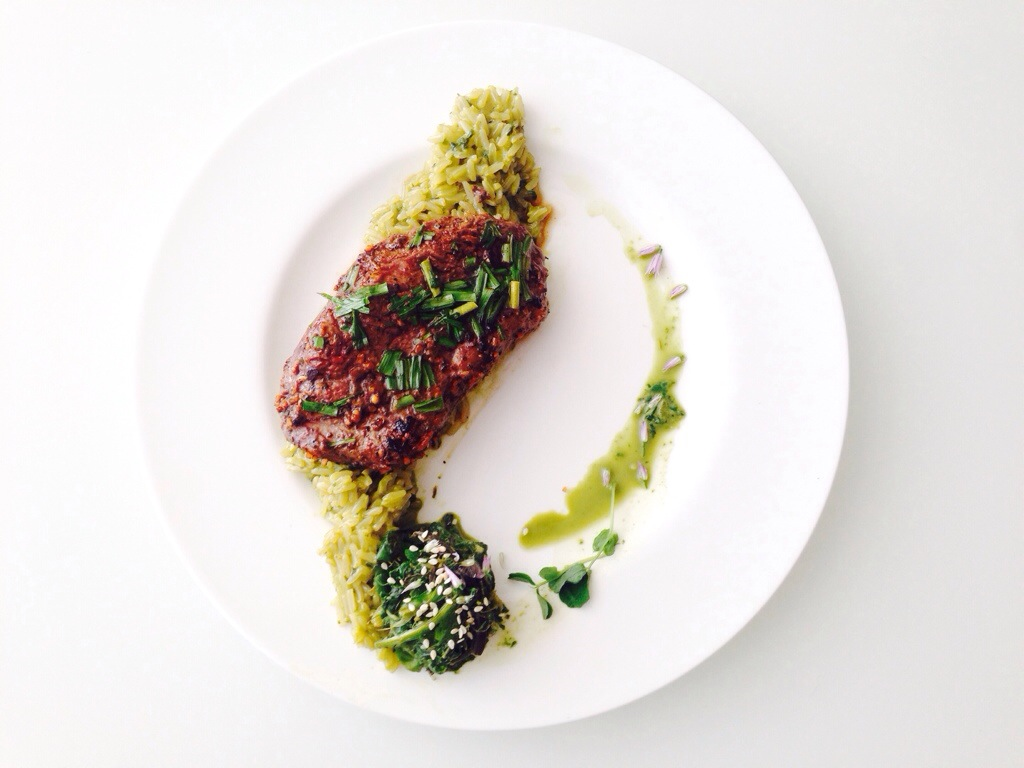 Pan Seared Striploin with Beet Greens Risotto, and Beet Greens Gomae