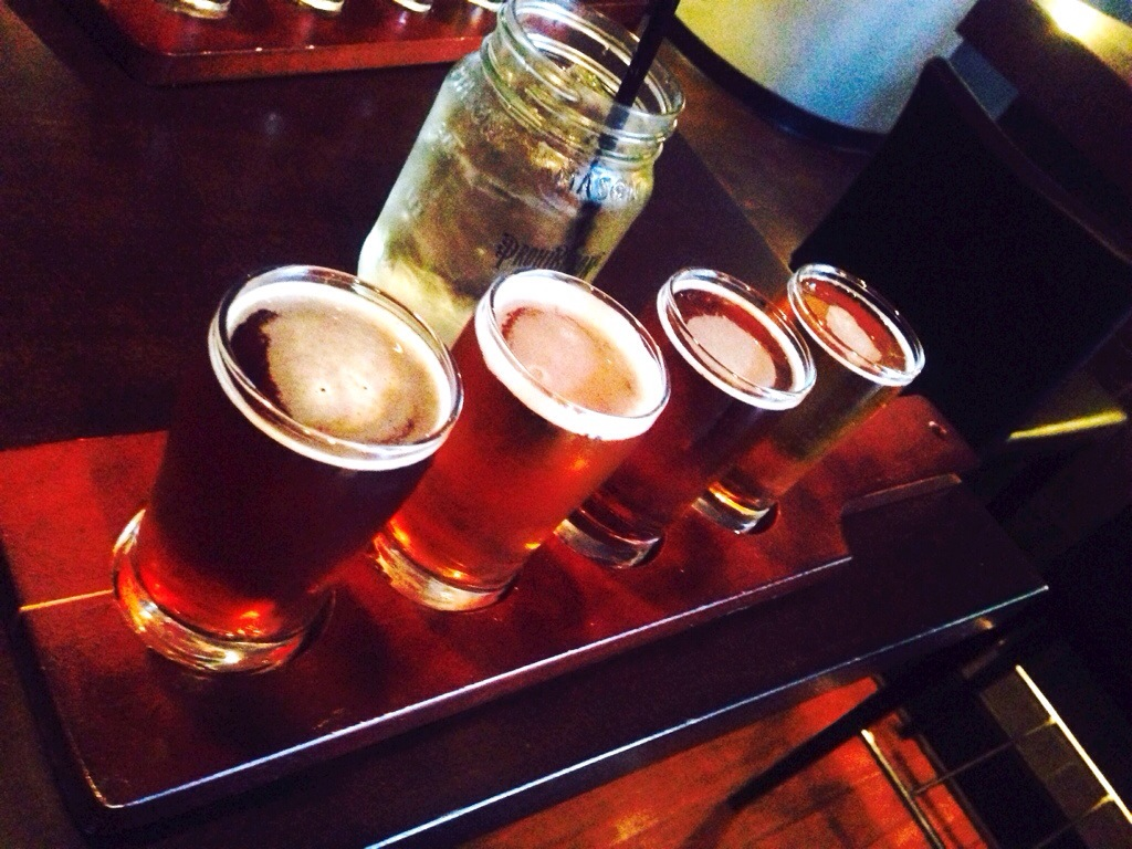 Beer Flight: Getaway Lager, Boolegger Amber Ale, Lawless IPA, Smuggler Scotch Ale @ Prohibition Tasting Room