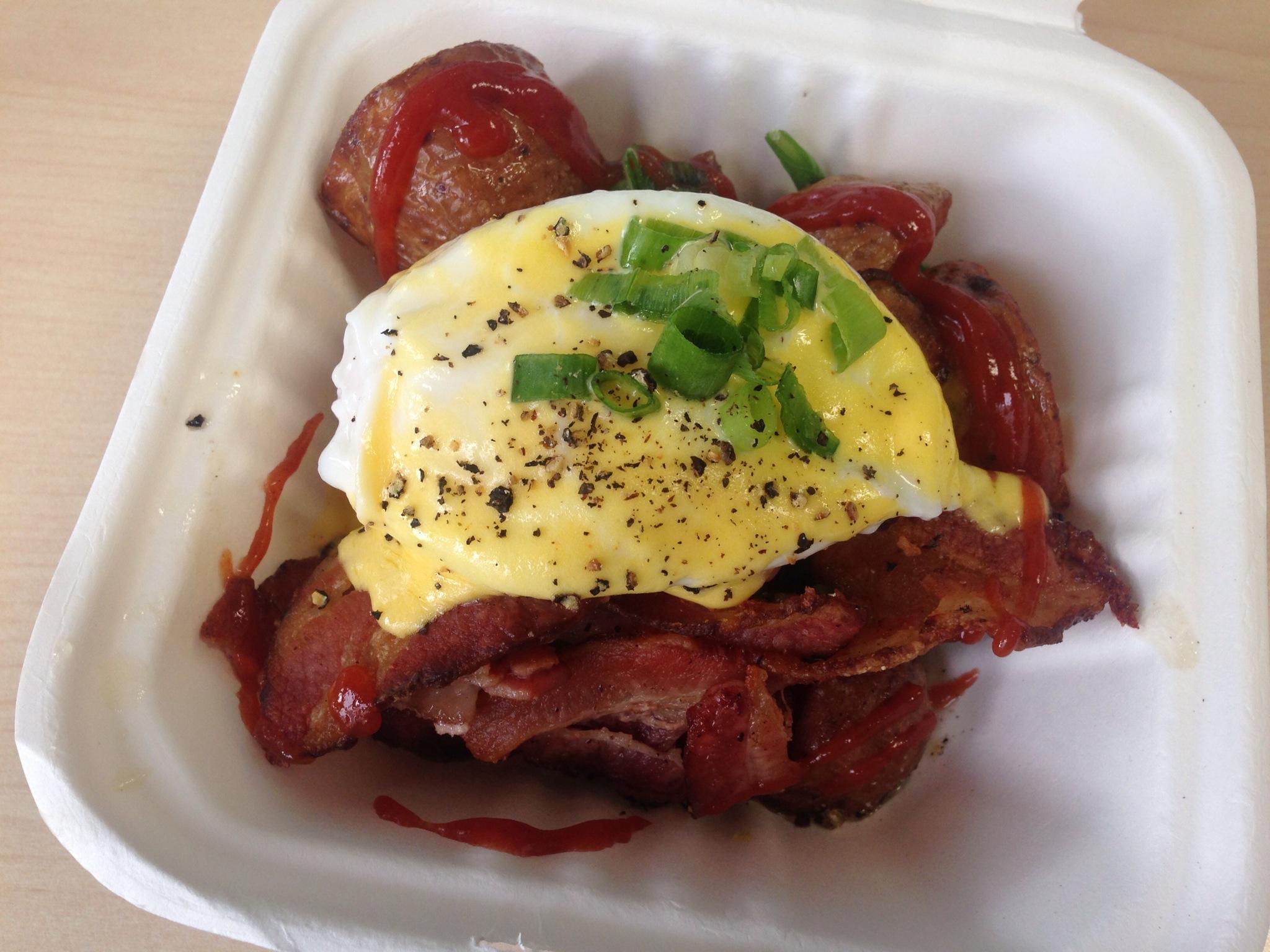 Poached Egg on Truffle Lemon Hash Brown @ Yolks Breakfast Food Truck