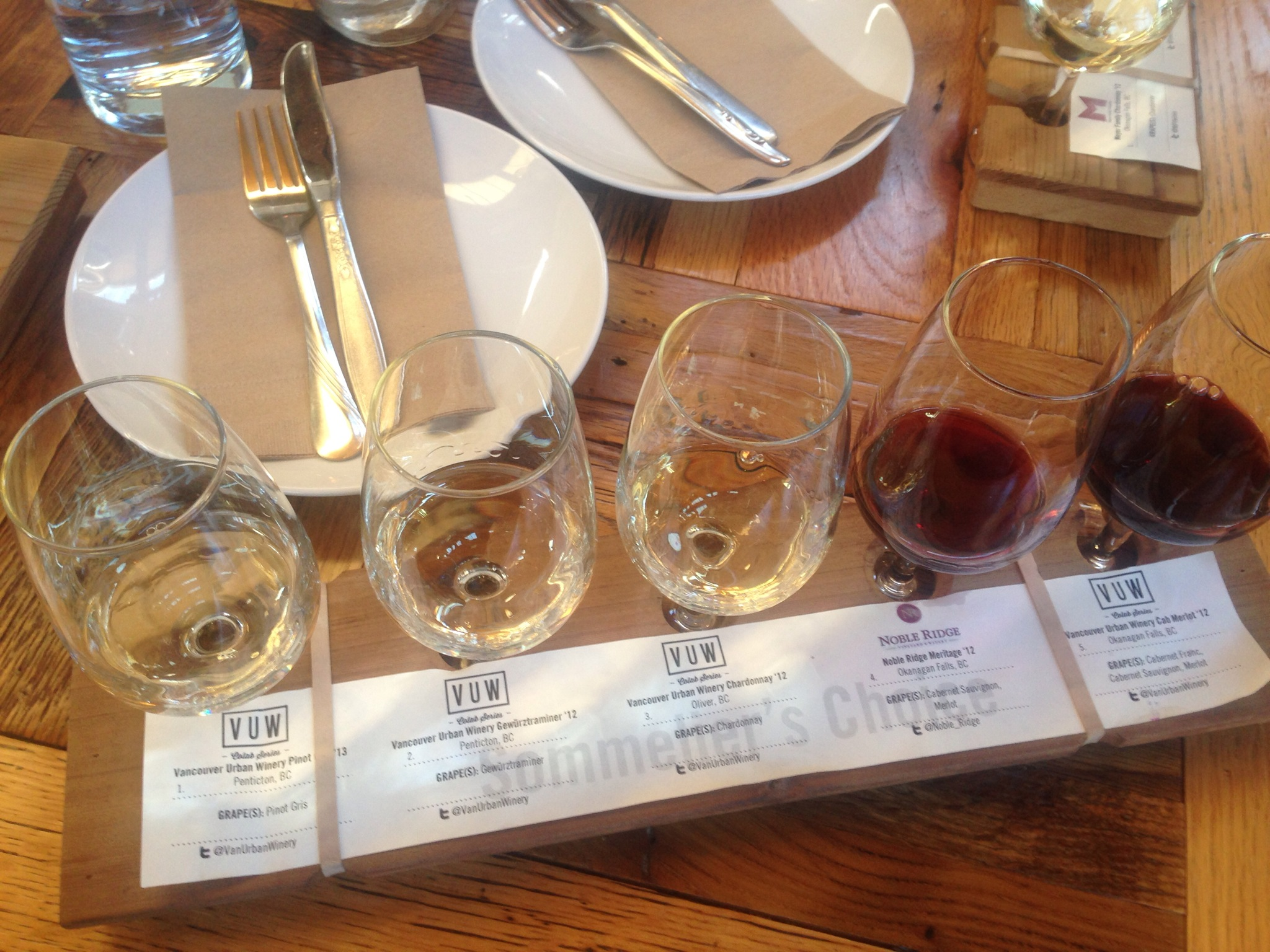 Sommelier's Choices Wine Flight @ Vancouver Urban Winery