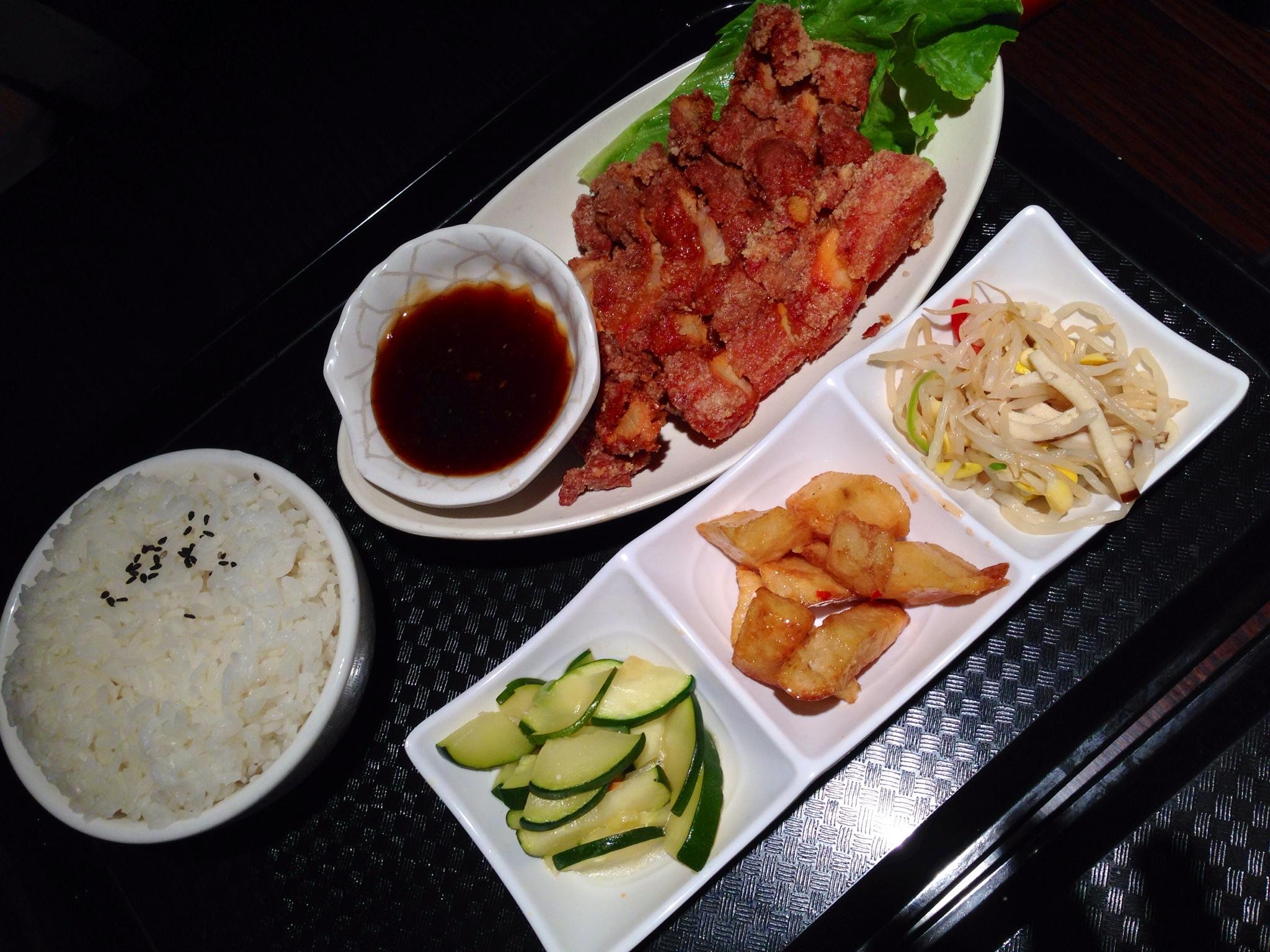 Deep Fried Red Spiced Pork Chop  and Rice Set @ Strike, Richmond