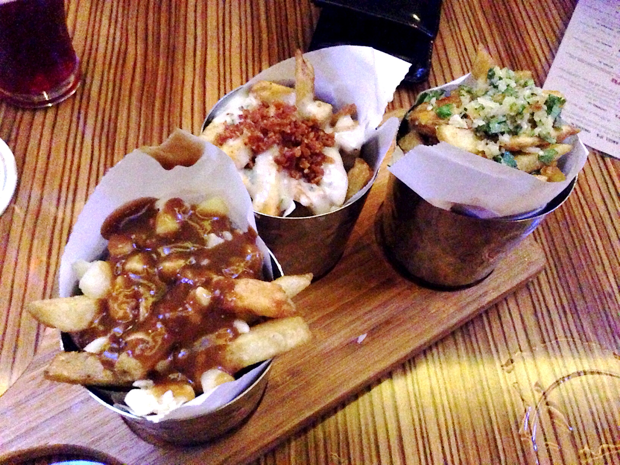 Fries x 3: Gorgonzola cream & bacon, Poutine, Truffle oil & parmesan @ Rogue Kitchen & WetBar
