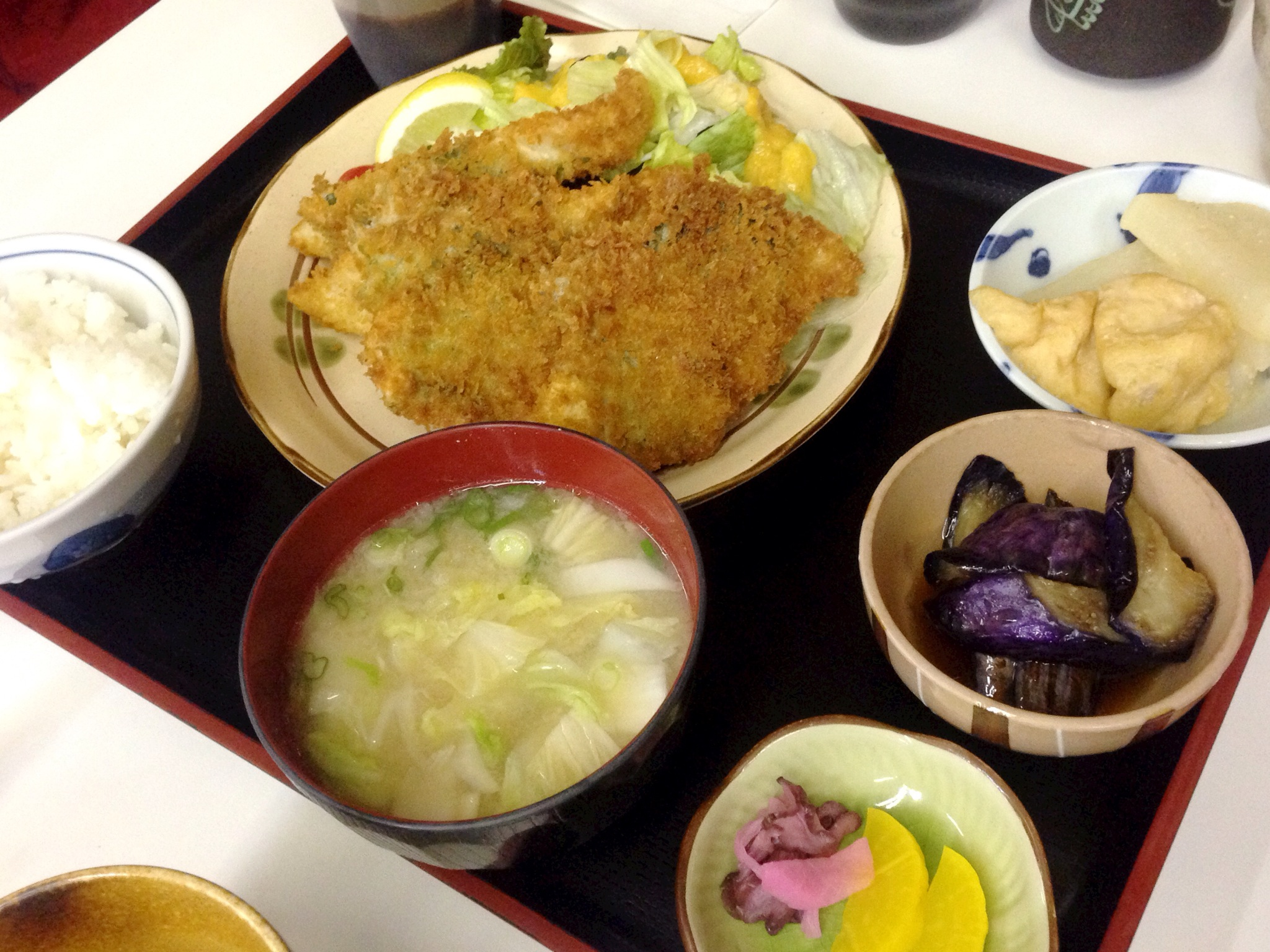 Teishouku - Breaded Deep Fried White Fish with Shiso Leaf @ Aotoya Blue Door