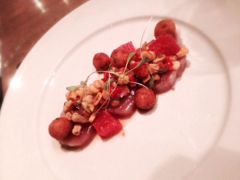 Cured albacore tuna, fried polenta, corn and jalapeño dressing @ L'Abattoir