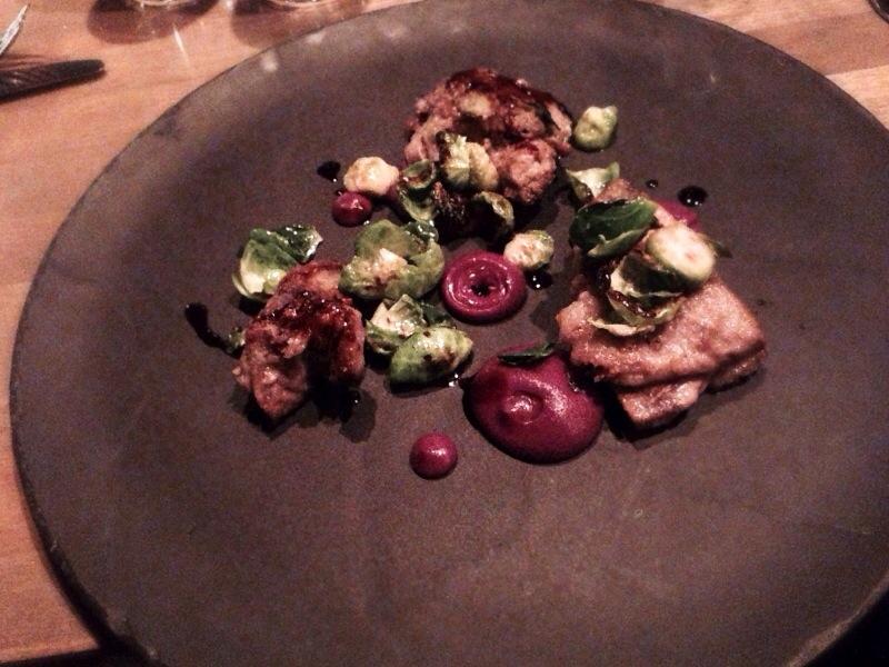 Milk braised lamb shoulder, fried brussels, red cabbage @ L'Abattoir