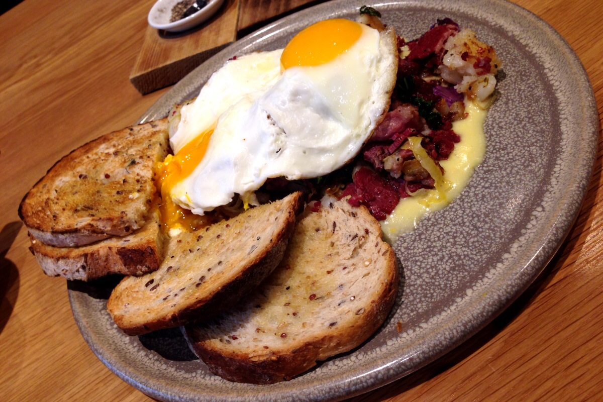 Corned bison hash, sunny-side eggs @ Forage