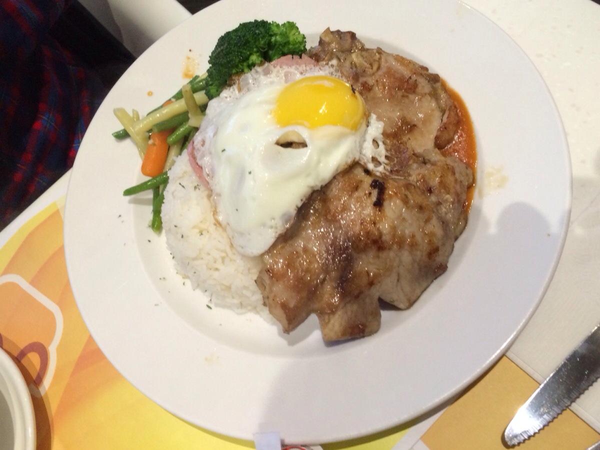 """Satin"" Pork Chop & Rice @ Copa Cafe"