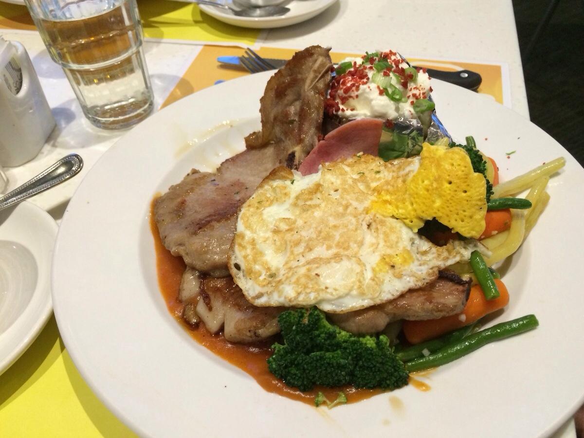 """Satin"" Pork Chop and Rice @ Copa Cafe"