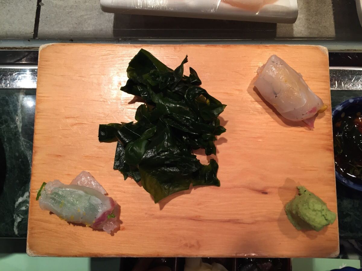tai sashimi 2 ways: negi (green onion), uni (sea urchin)