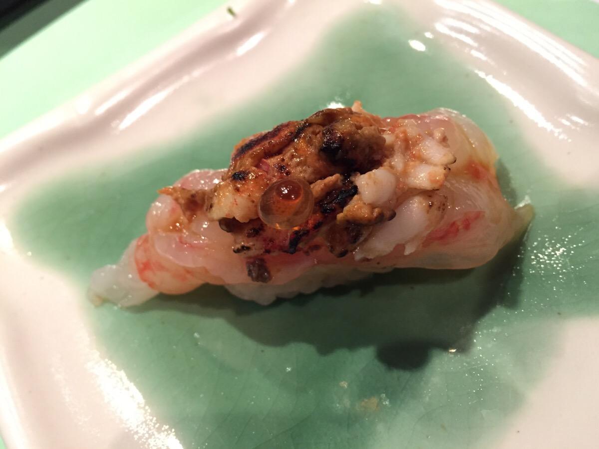 Japanese sweet prawn sashimi and chargrilled prawn head, black truffle, and ikura (salmon caviar)