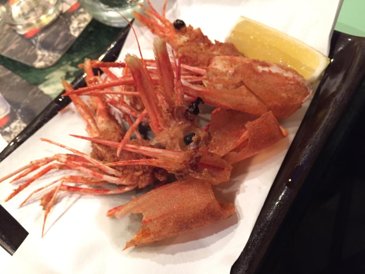 deep fried sweet prawn heads