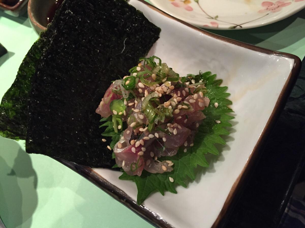 chopped tai with shiso