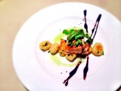 Warm Wood-Smoked Salmon with Potato Gnocchi and Balsamic Glaze