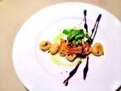 Warm Wood-Smoked Salmon with Potato Gnocchi and Balsamic Glaze