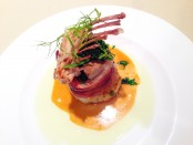 Saddle of Rabbit in Applewood-Smoked Bacon with Caramelized Fennel and Fennel Oil