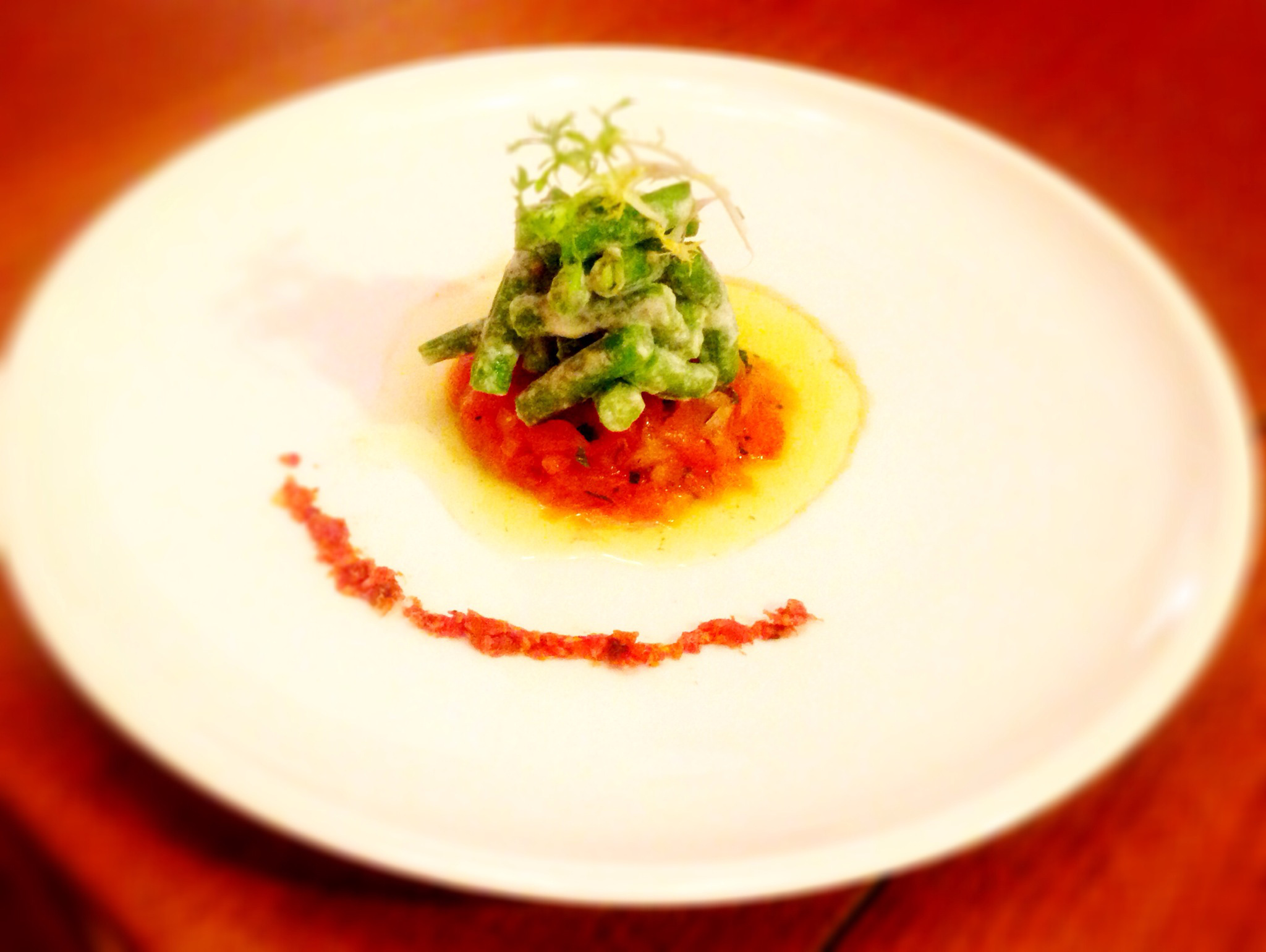 Salad of Haricots Verts, Tomato Tartare, and Chive Oil