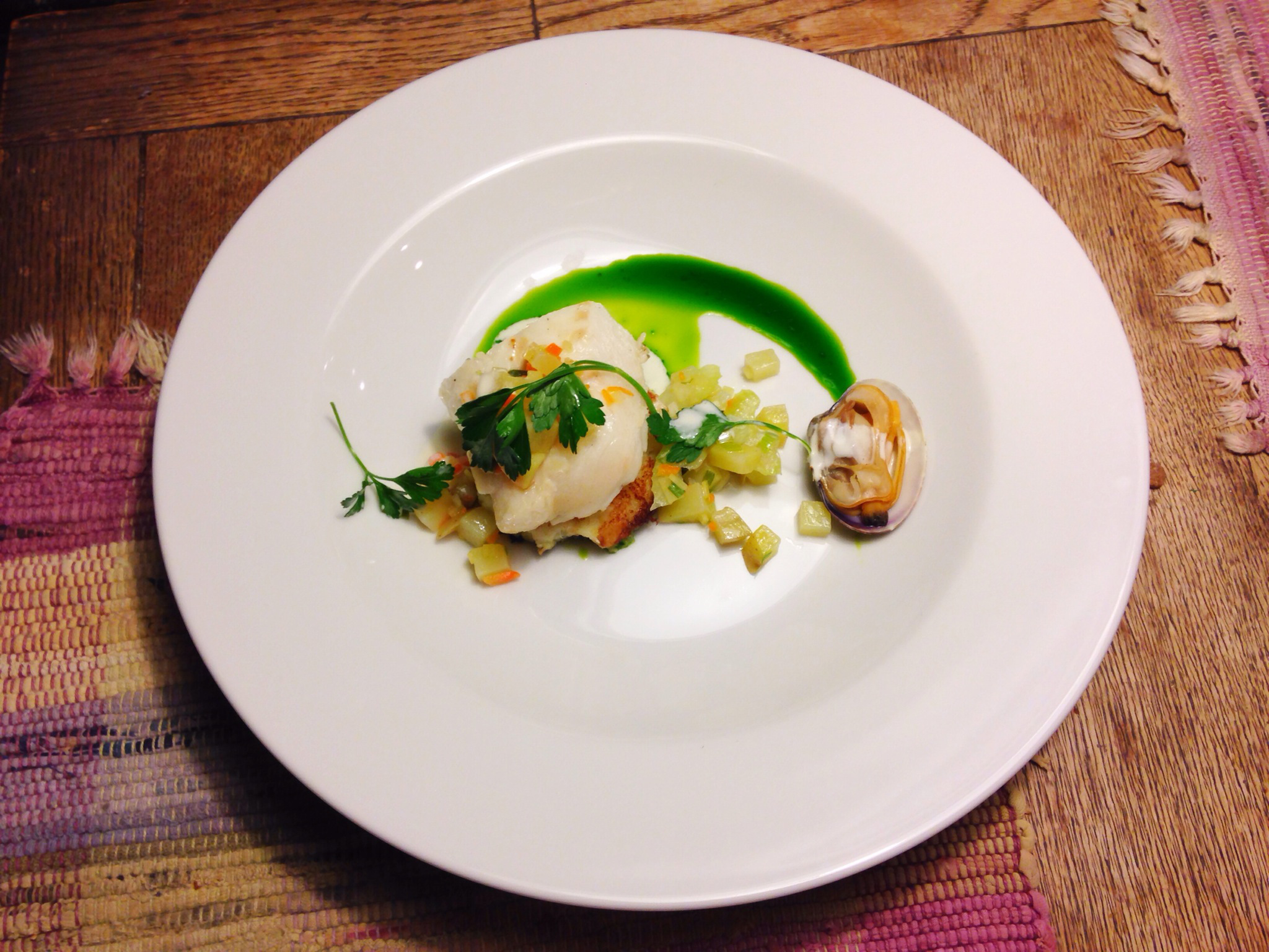 """Clam Chowder"" Cod, Cod Cake, Parsley Oil"
