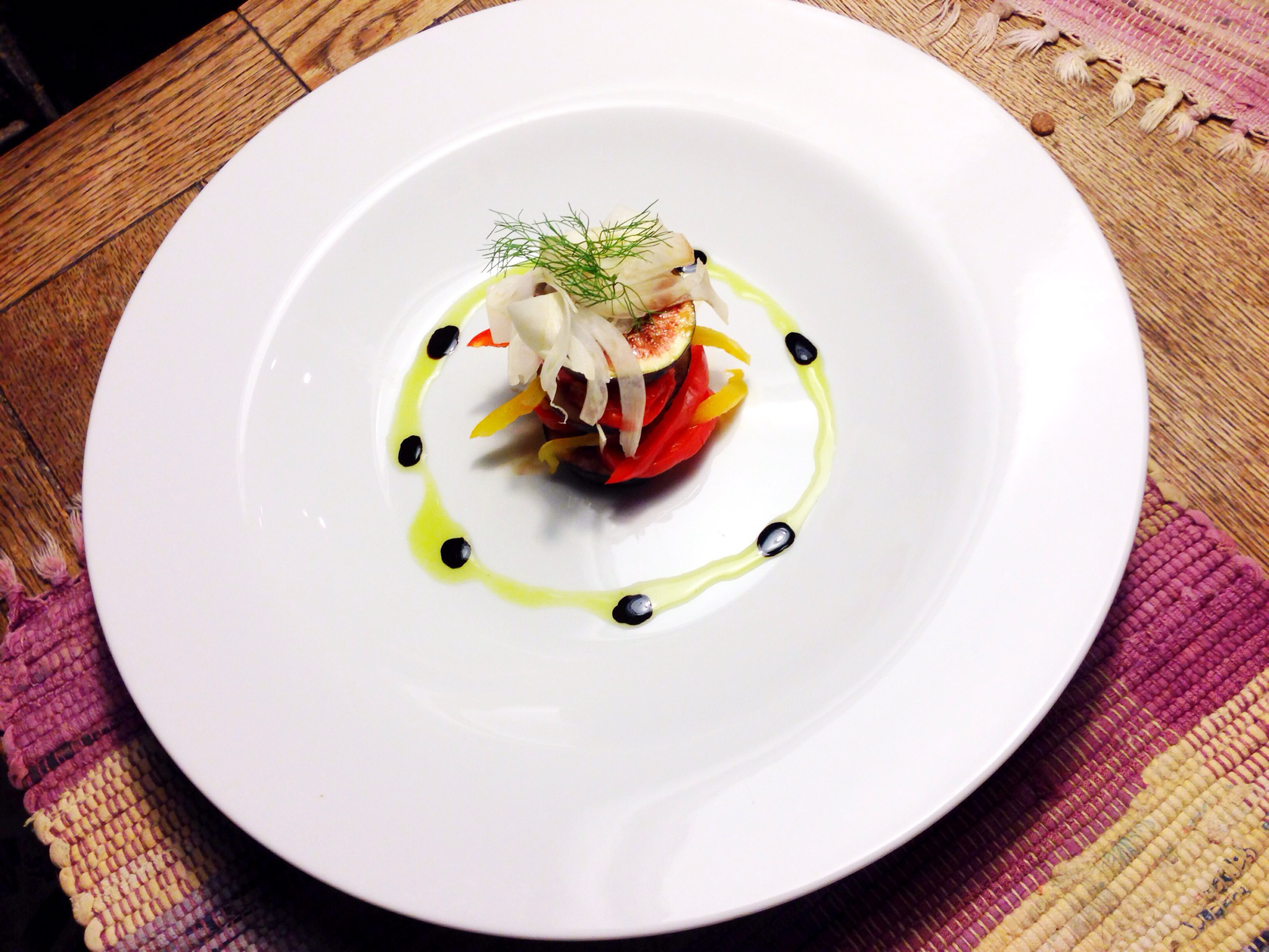 Salad of Black Figs with Roasted Sweet Peppers and Shaved Fennel