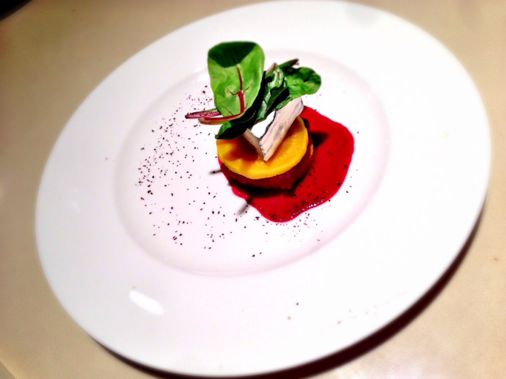 Ashed Chèvreaux with Slow Roasted Yellow and Red Beets, and Red Beet Vinaigrette