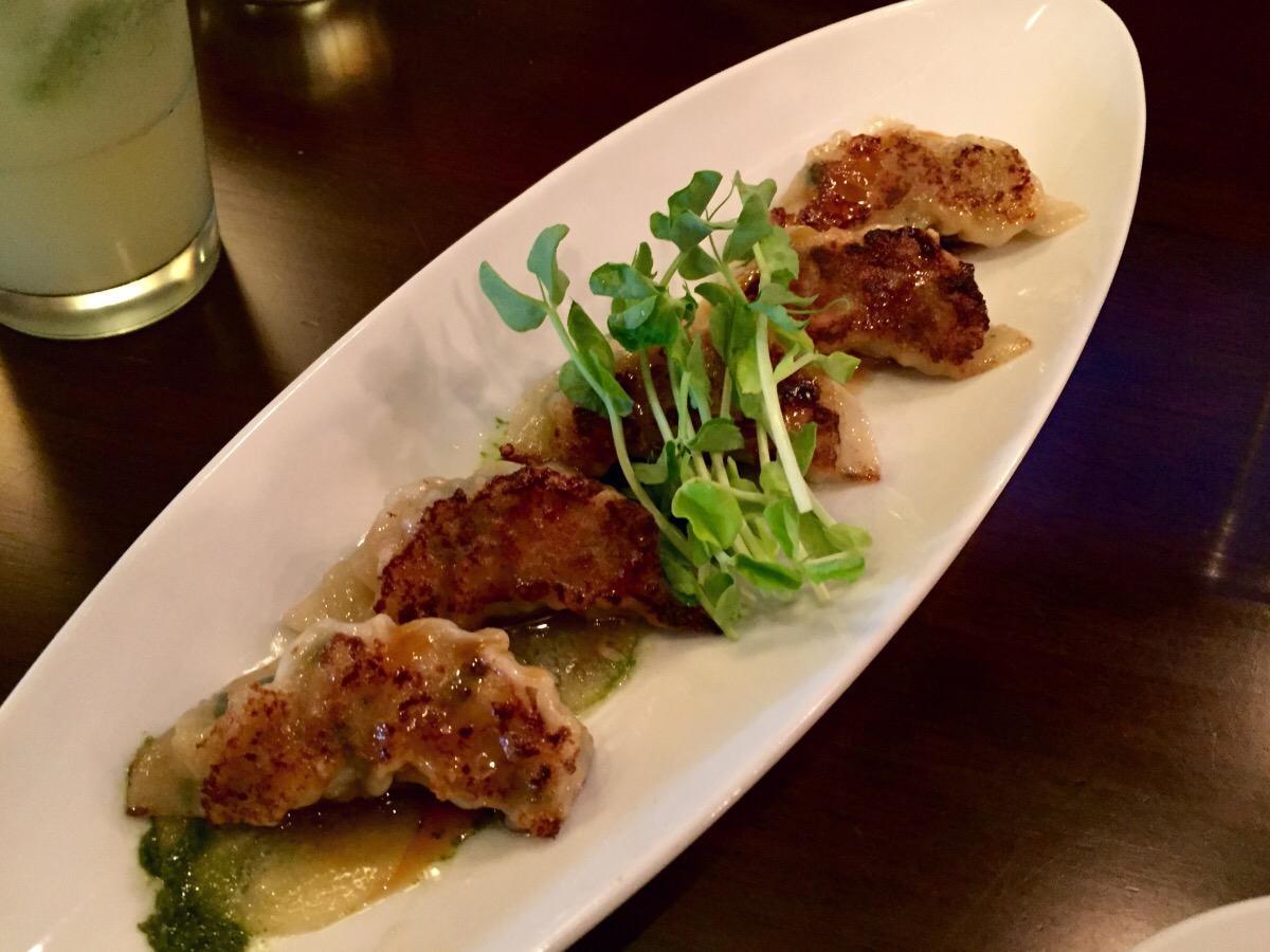 chili shrimp gyoza, wasabi chimichurri @ gyoza bar