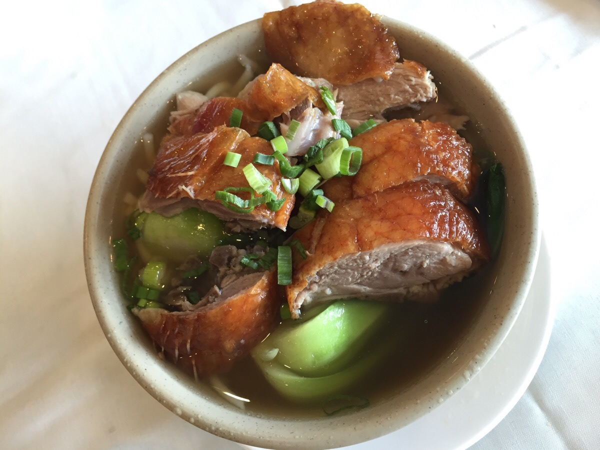 BBQ Duck on Lai Noodle Soup