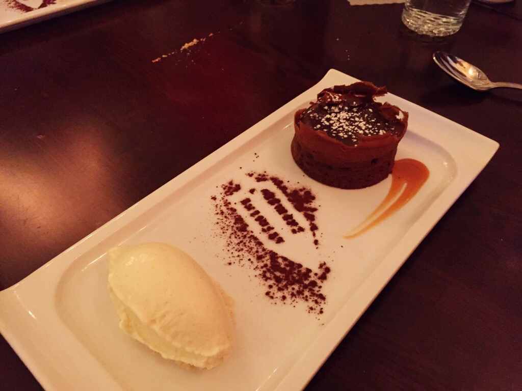 molten chocolate lava cake, house made vanilla icecream