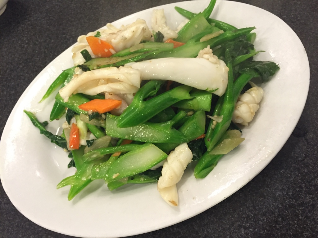 Pan Fried Squid and Gailan