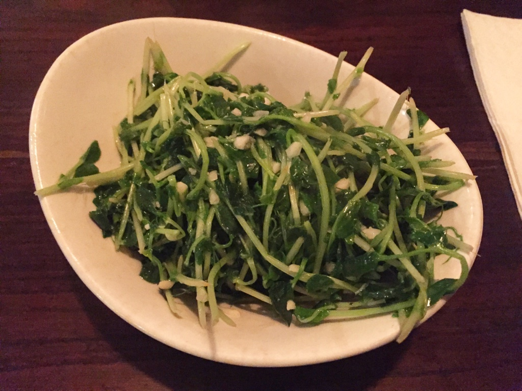 Fried Baby Pea Shoots with Garlic