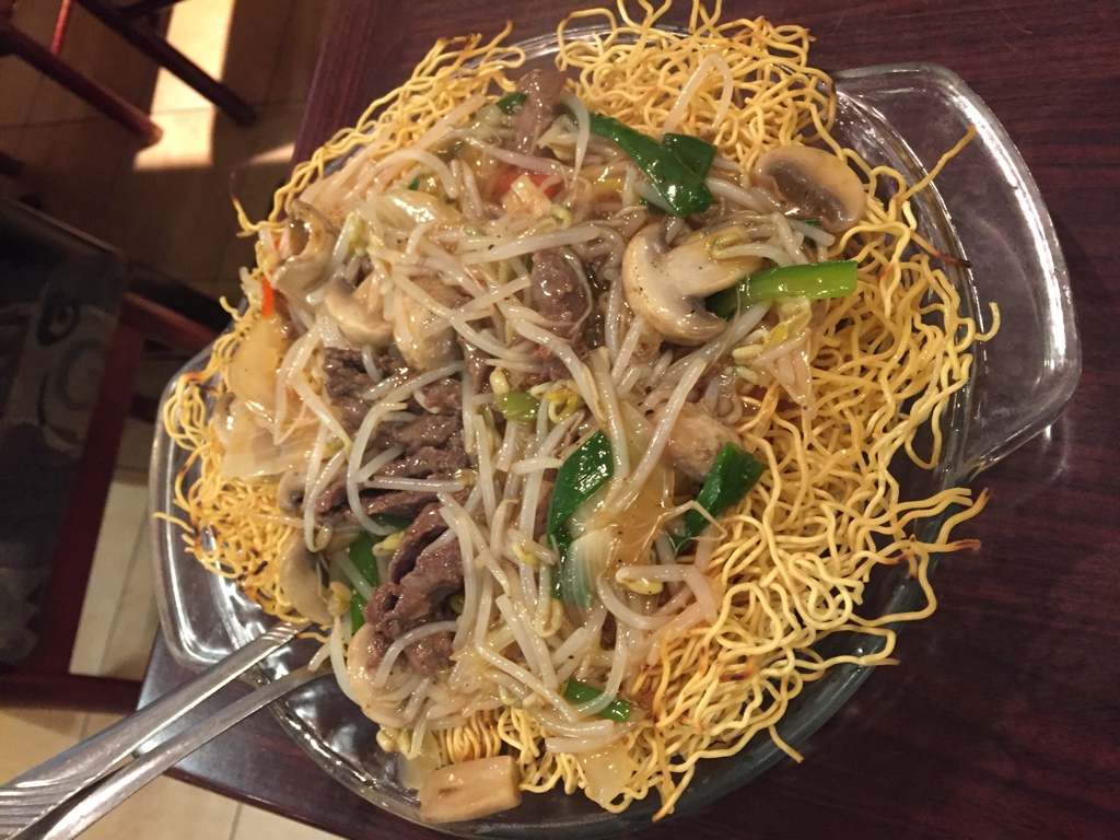 pork and bean sprout chow mein