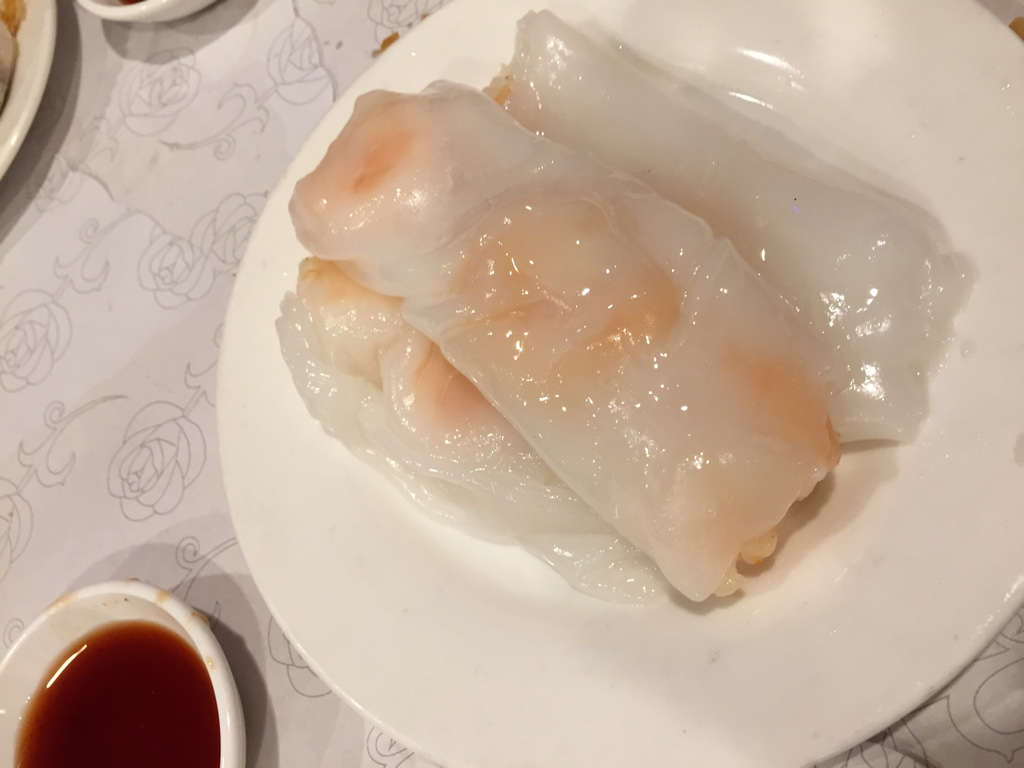 shrimp rice noodle rolls (cheong fun)
