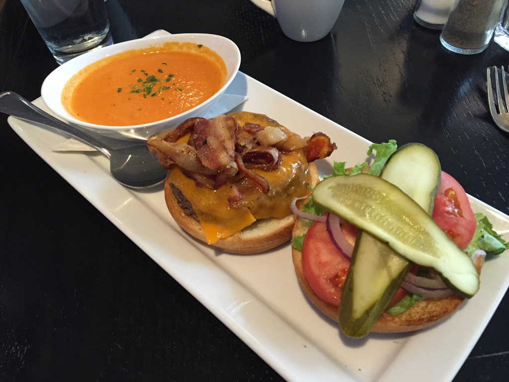 Cheddar Burger with Tomato Soup