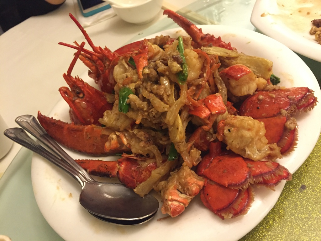 lobster with ginger and green onion