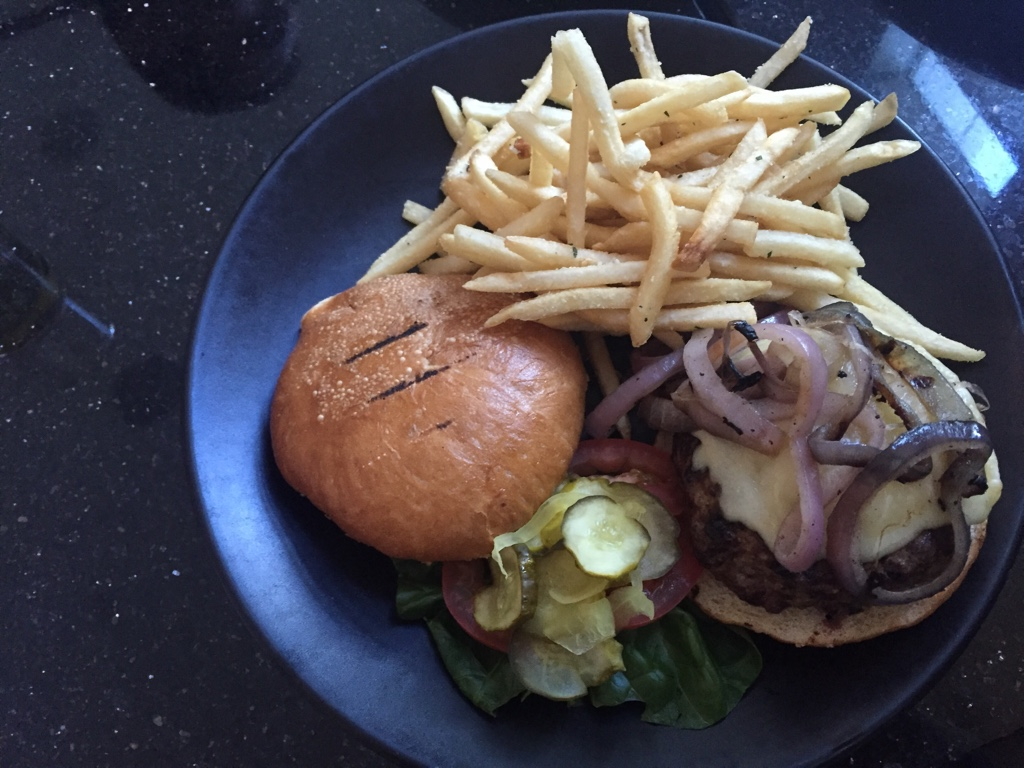 LUCE Burger, Certified Angus Beef, Cave Aged Cheddar, Grilled Red Onion