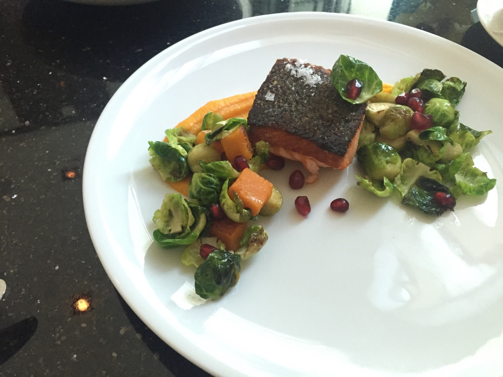 Pacific King Salmon,Fall Squash, Brussels Sprouts, Pomegranate