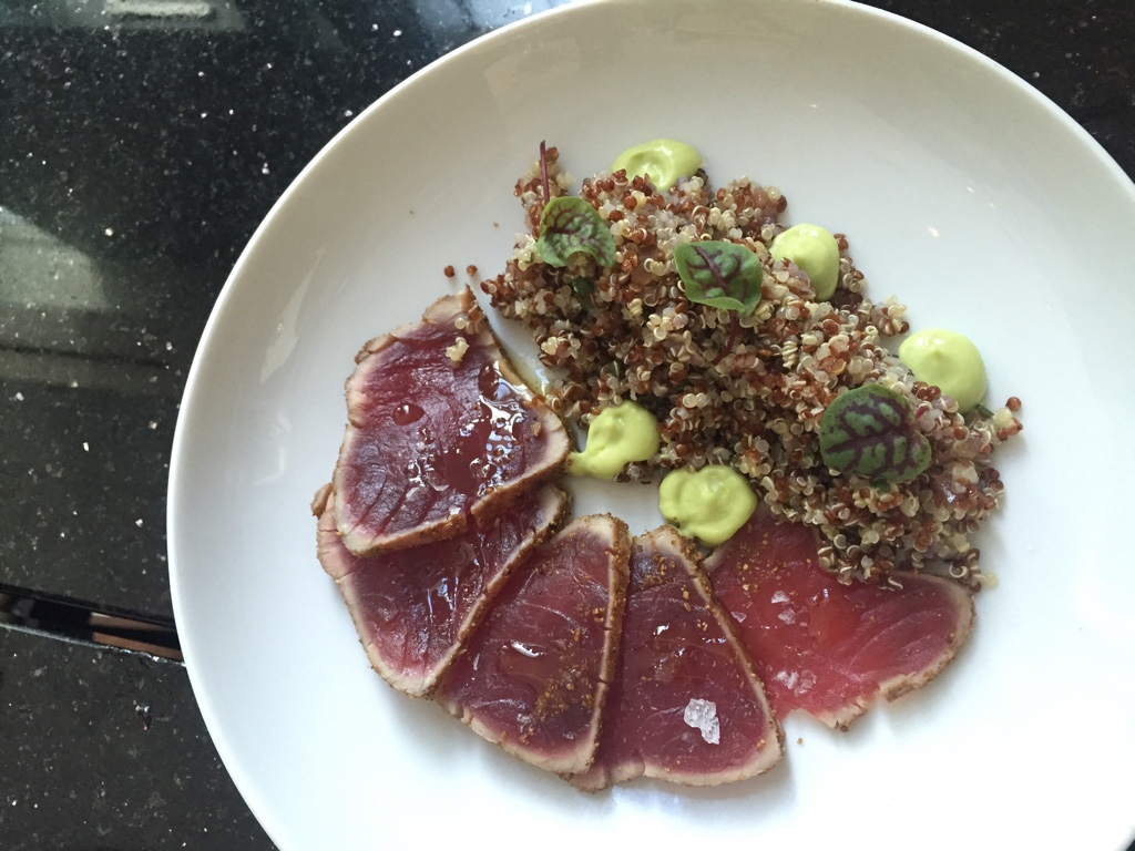 Yellowfin Tuna, Seared Rare, Red Quinoa, Cilantro, Avocado & Spring Onion