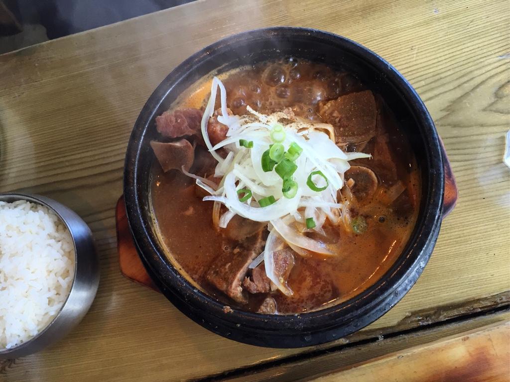 Gamjatang (pork bone and potato hot pot)