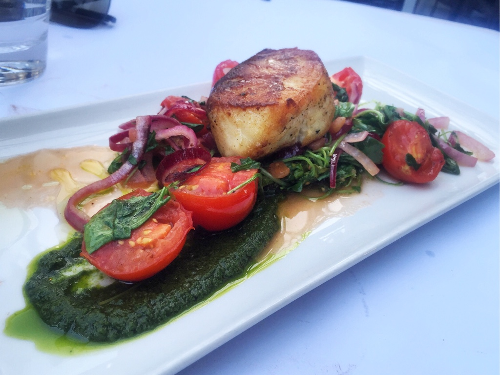 Ling Cod, Bitter Greens, Tomatoes, Pesto