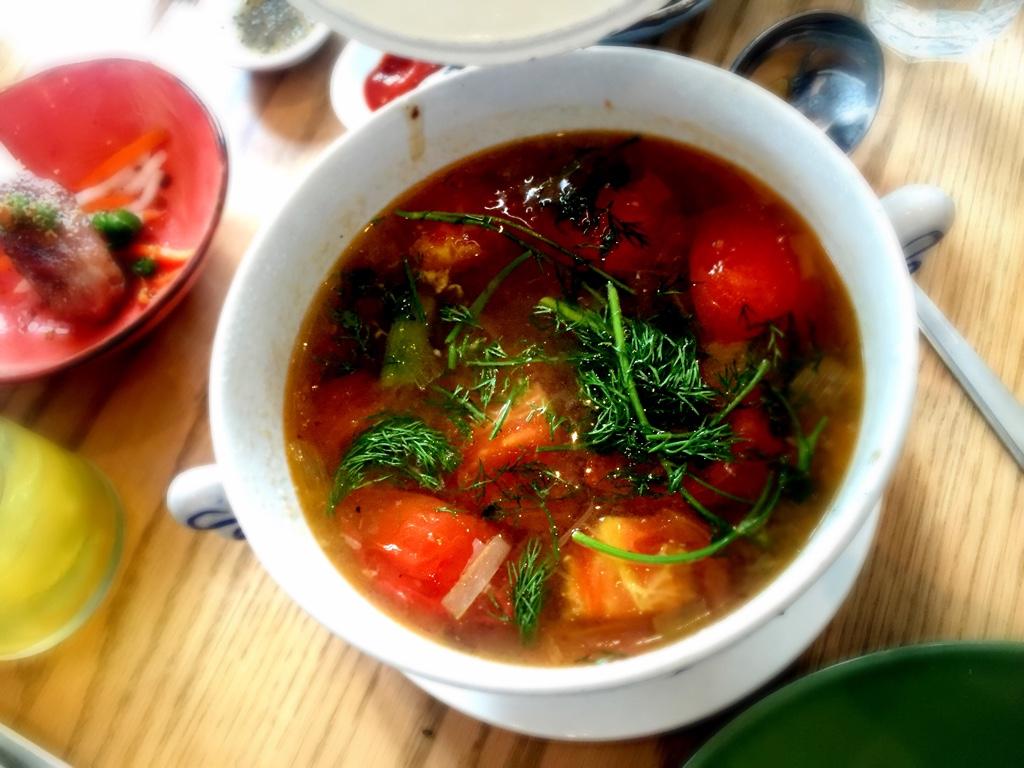 Canh Ca Thì Là - Wild Sockeye Salmon, fresh tomato and dill soup.