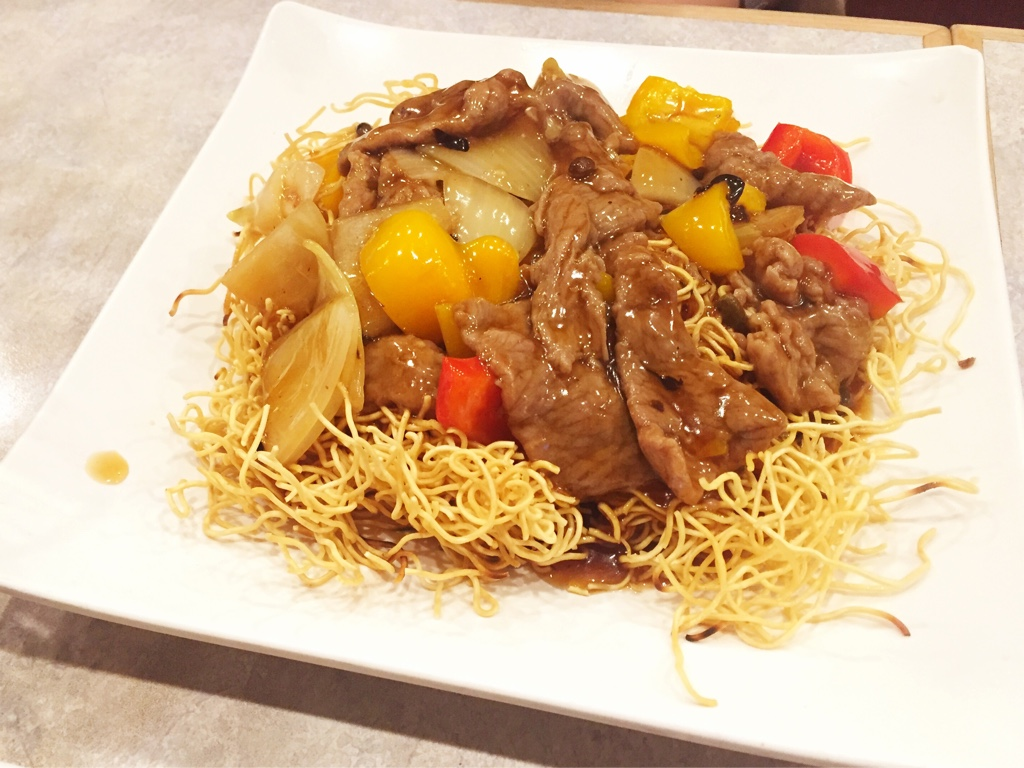 Beef Chow Mein with Bell Pepper and Black Beans