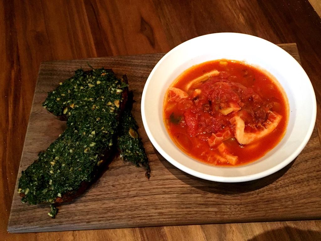 Braised tripe, chorizo, san marzano tomato, grilled bread, kale pistou